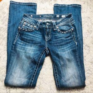 MissMe Studded Zipper Jeans Size 26 EUC
